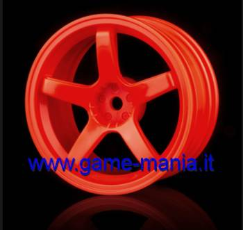 102017O - 4 cerchi a 5 razze ROSSO FLUO offset +3mm by MST