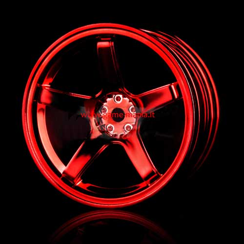 102018R - 4 cerchi a 5 razze Rosso Metal offset +5mm by MST