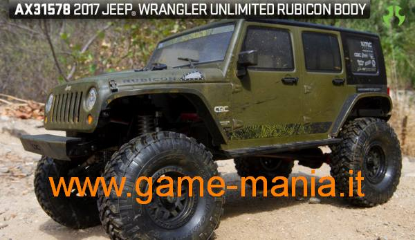 Jeep Wrangler Unlimited Rubicon clear lexan hardtop body by Axial
