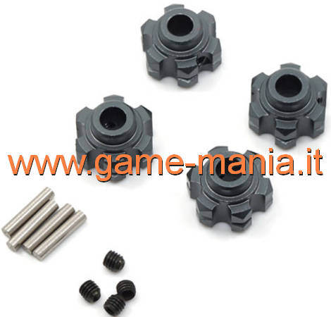 Esagoni trascinatori 12mm (4) IN LEGA GRIGI con bordino by Yeah Racing