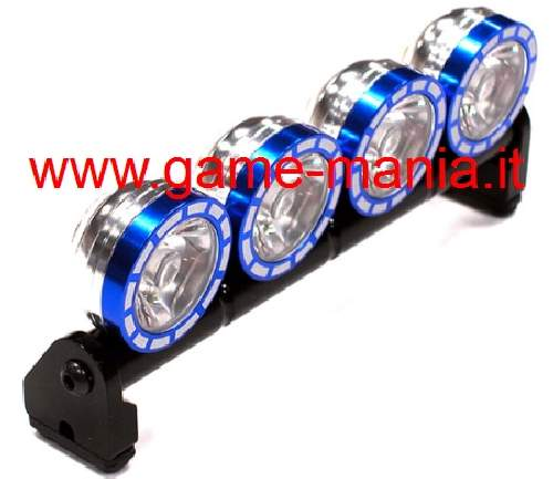Barra luci tetto 4 fari IN LEGA BLU e LED x scalers - Integy