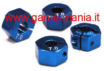 4 esagoni trascinatori in lega BLU spessi 7mm con viti by Integy