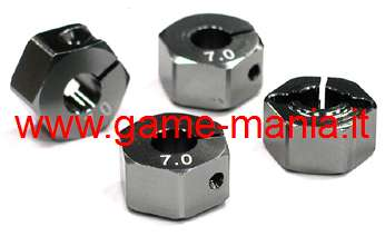 4x GREY alloy 12mm hex hubs (7mm thickness) with screws Integy