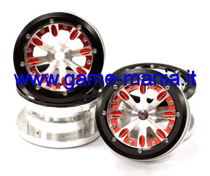 4x RED 2.2 alloy 8-spoke BEADLOCK dual offset wheels Integy