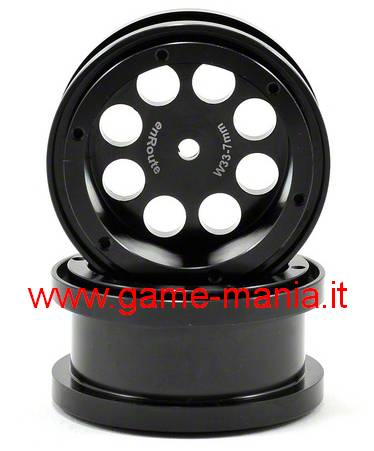 "Pair of 2.2"" V2 black 33-7 beadlock rims by Enroute"