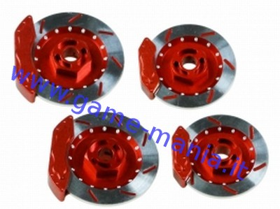 4x ALLOY RED hex rotors 32mm dia. WITH CALIPERS 1/10 by 3Racing