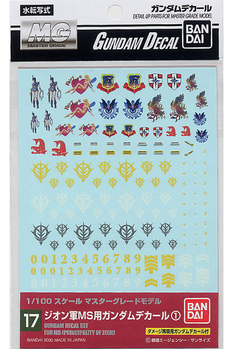 GD-17 decal set per Principato di Zeon scala 1:100 Bandai
