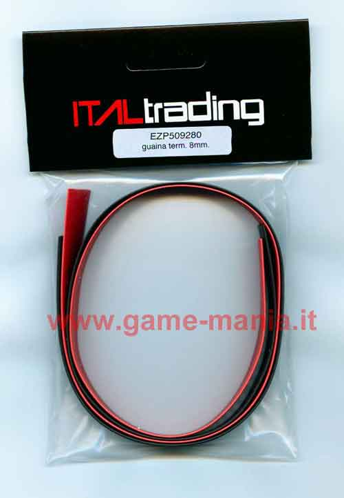 Thermo-rectractable 2x 50cm x 8mm BLACK RED cable covers by EZ