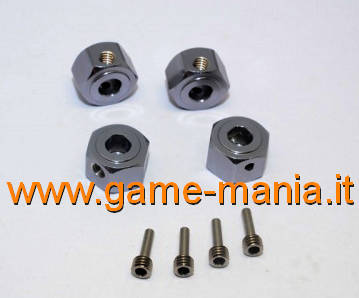 12x8mm GREY anod. alloy hex adapters for Vaterra Ascender by GPM