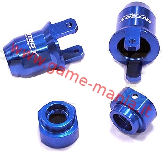 Alloy rear BLUE fixed hub carriers for Losi MRC by Integy