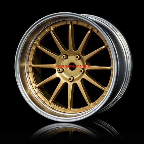 102091GD - SILVER / GOLD offset changeable 12-spokes nylon rims (4 pcs) by MST