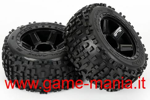 "2x Badlands 3.8"" tires on Desperado rims for Traxxas rigs by Pro-Line"