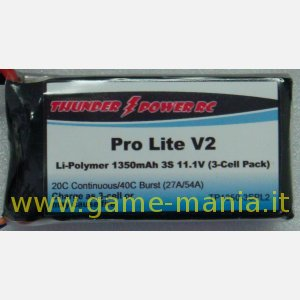 Pro Lite V2 1350Mah 3S1P 20C/40C picco by Thunder Power