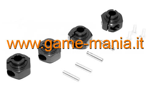 12mm reinforced BLACK aluminium hex hubs for Ax-10/Wraith by GPM (x4)