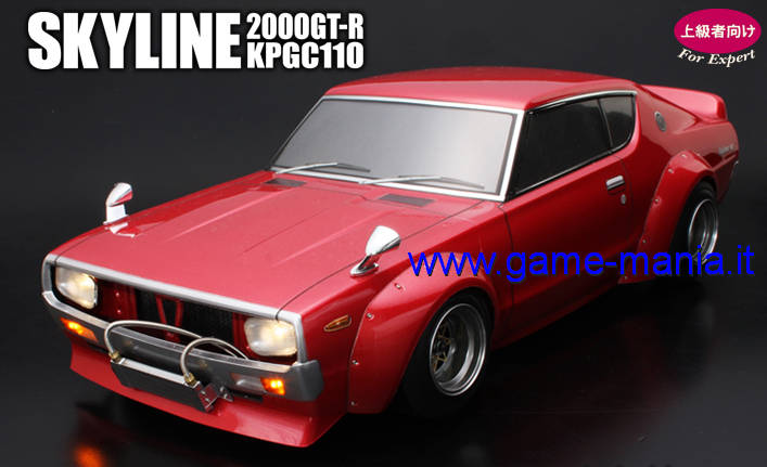 Carrozz. NISSAN SKYLINE 2000 GT-R (KPGC110) CHERRY TAIL traspar. e parabole 1:10 by ABC Hobby