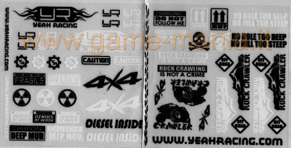Adesivi con scritte e slogan offroad per scalers/crawlers 1:10 by Yeah Racing
