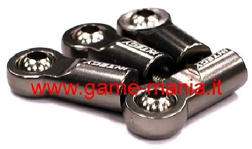 Giunti (4) uniball IN LEGA GRIGI da 22mm per barre M3 by integy