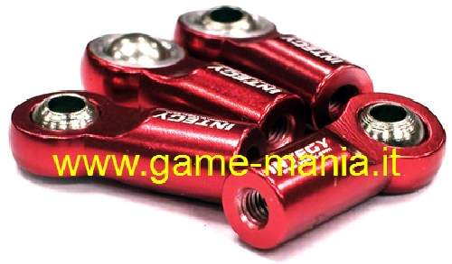 4x RED ALLOY 22mm uniball joints for M3 threaded bars by Integy