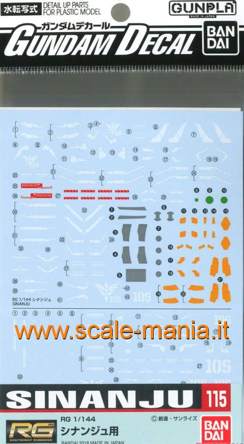 GD-115 decal set per MSN-06S Sinanju RG scala 1:144 by Bandai