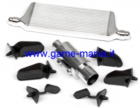 Chromed plastic intercooler - mirrors - exhaust for 1/10 by HPI