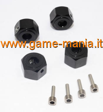 12x8mm BLACK anod. alloy hex adapters for Vaterra Ascender by GPM