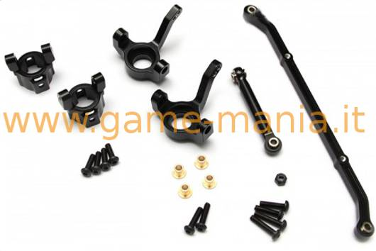 5 degrees toe-in complete BLACK alloy steering upgrade set for SCX-10 by GPM
