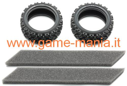 "Gomme 1.9"" tassellate ""Rally Block"" mescola SOFT by Tamiya (x2)"