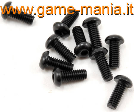 Dark steel 2.5x06mm button hex socket screws (10x) by Vaterra