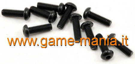 Dark steel 2.5x08mm button hex socket screws (10x) by Vaterra