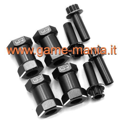 Distanziali 20mm neri per esagoni da 12mm (4 pz.) by Yeah Racing