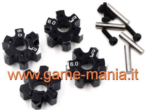 4x BLACK alloy 12mm machined hex hubs (6mm thick) by Yeah Racing