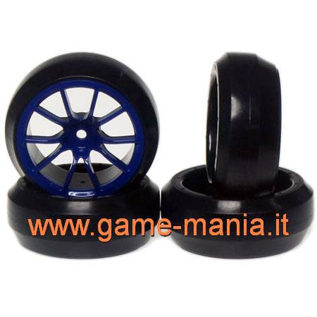 Set gomme DRIFT su cerchi BLU a 10 razze offset +3mm by Yeah Racing